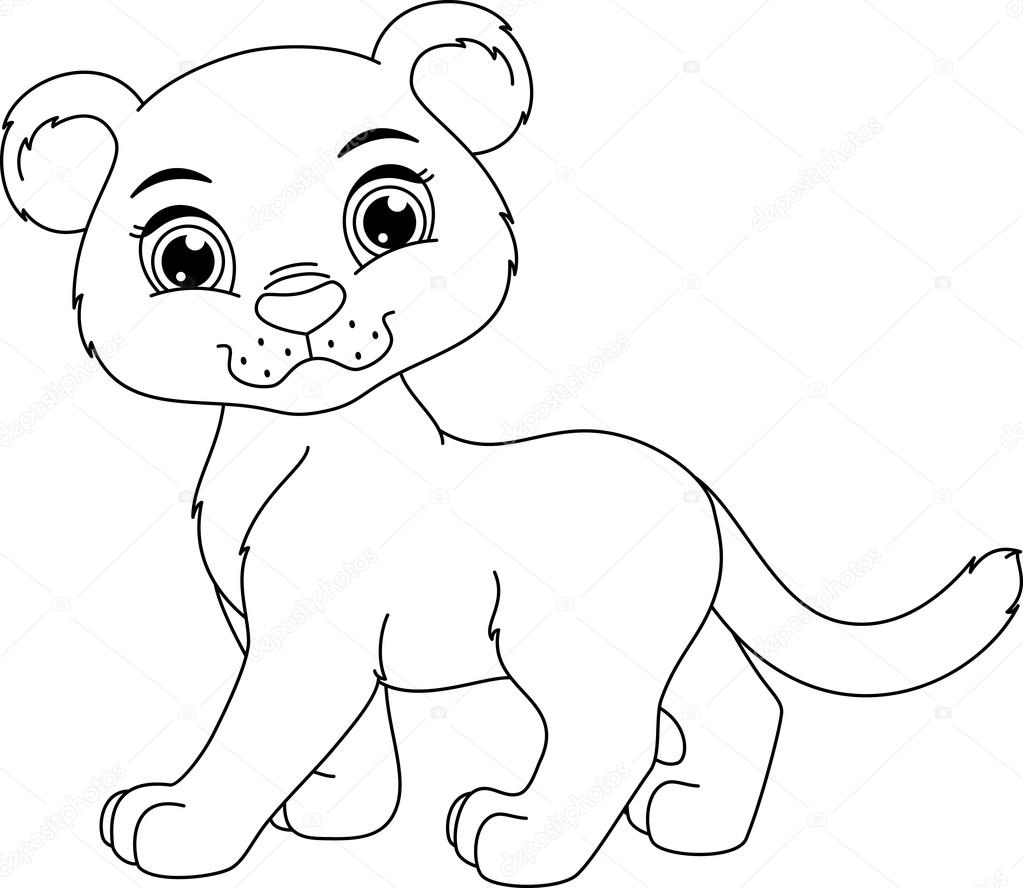Cute panther coloring page — Stock Vector © Malyaka #70023121