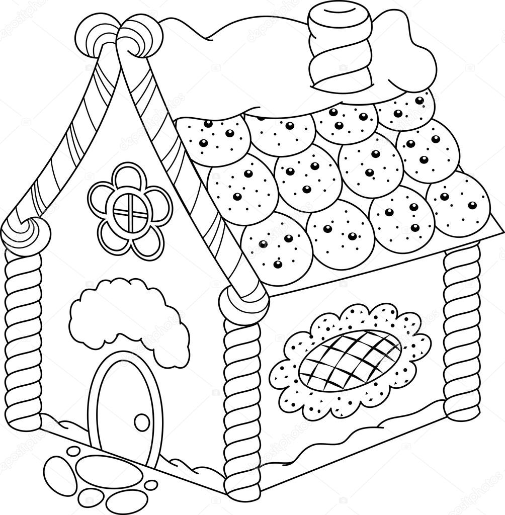 Gingerbread House Coloring Page — Stock Vector © Malyaka