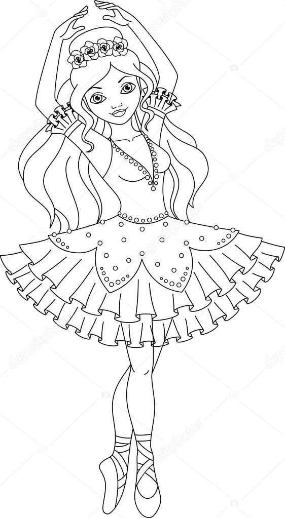 Ballerina coloring page — Stock Vector © Malyaka #75102519