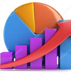 3d colored bar graph with red arrow growing up and pie chart on white grow chart business statistic concept photo by newb1 [ 1024 x 768 Pixel ]
