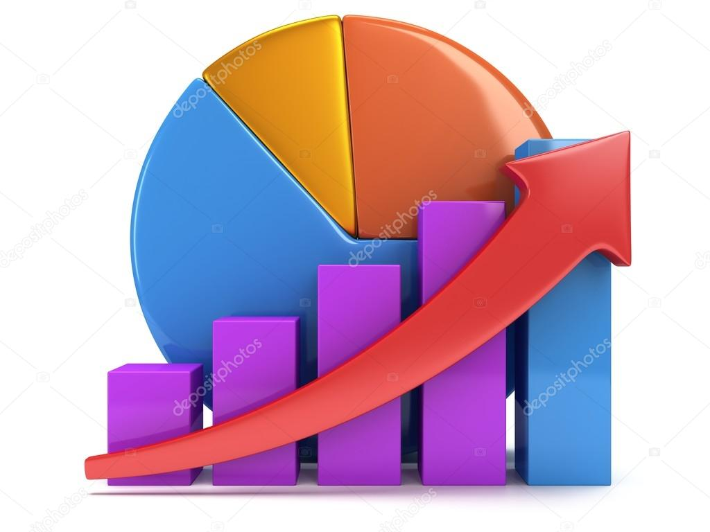 hight resolution of 3d colored bar graph with red arrow growing up and pie chart on white grow chart business statistic concept photo by newb1