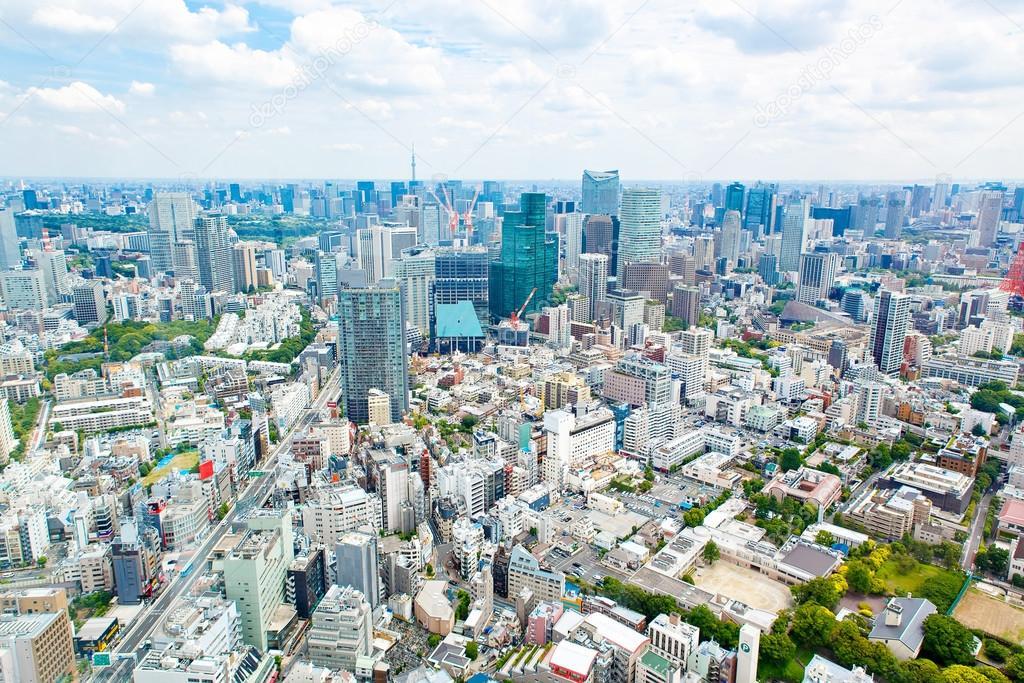 日本でスカイラインと東京タワーの上からの眺め — ストック ...