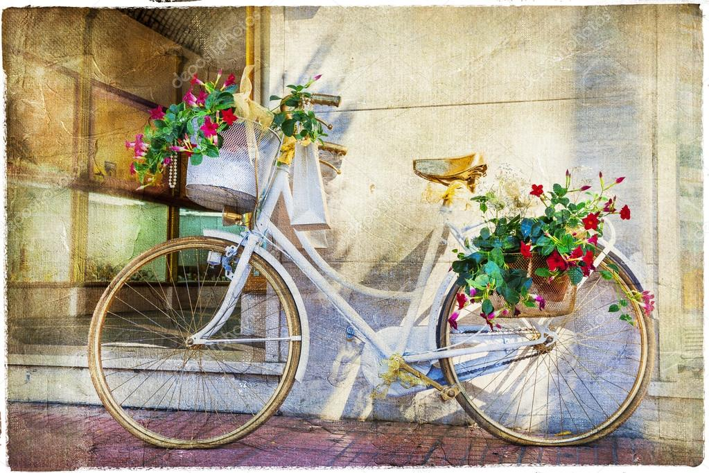 Floral Bike Artistic Vintage Picture — Stock Photo