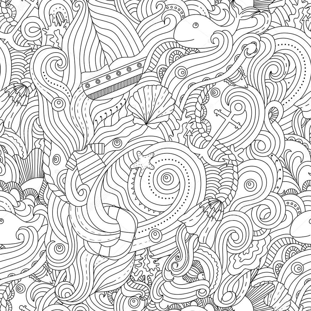 Nautical Pattern Adult Coloring Page Stock Vector