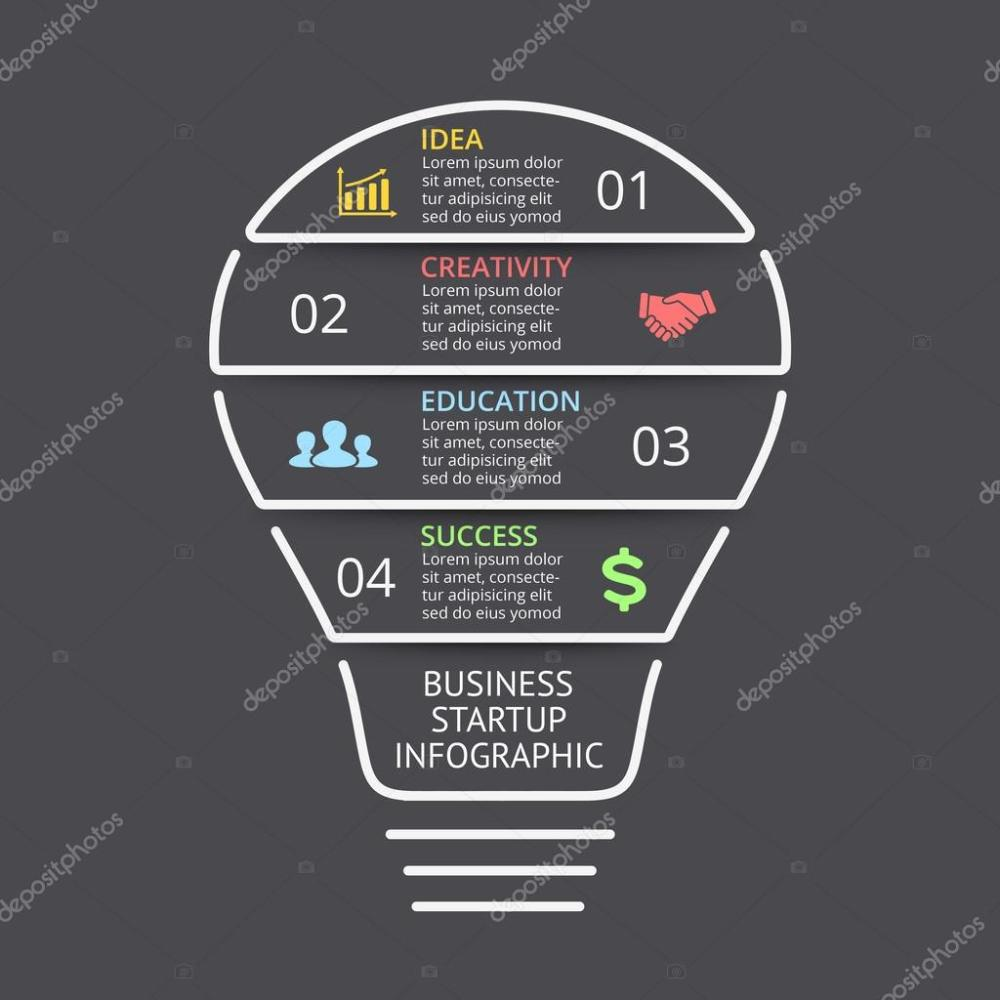 medium resolution of vector light bulb linear infographic template for lines diagram graph presentation and layers