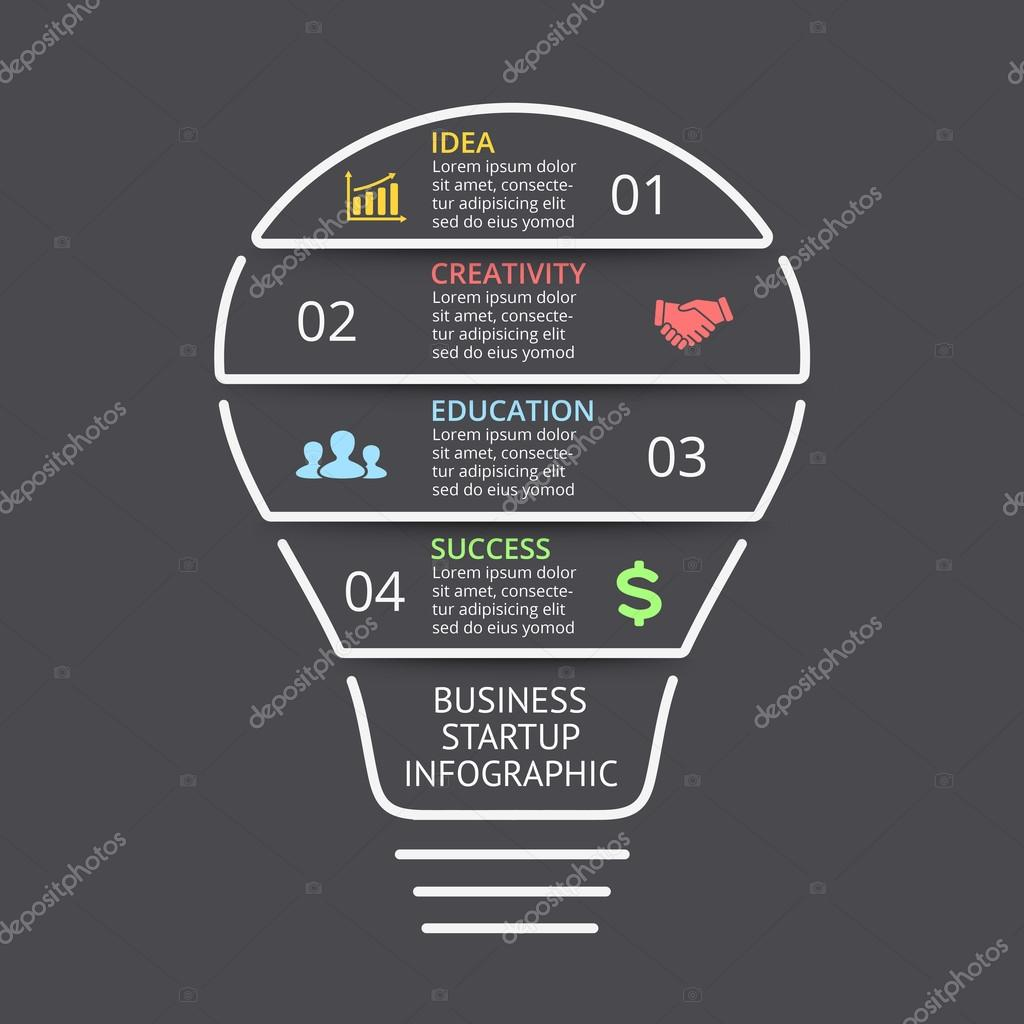 hight resolution of vector light bulb linear infographic template for lines diagram graph presentation and layers