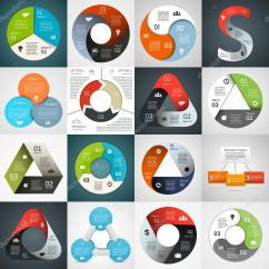 Health Triangle Diagram Template Convergent Boundary Vector Circle Infographics Set For
