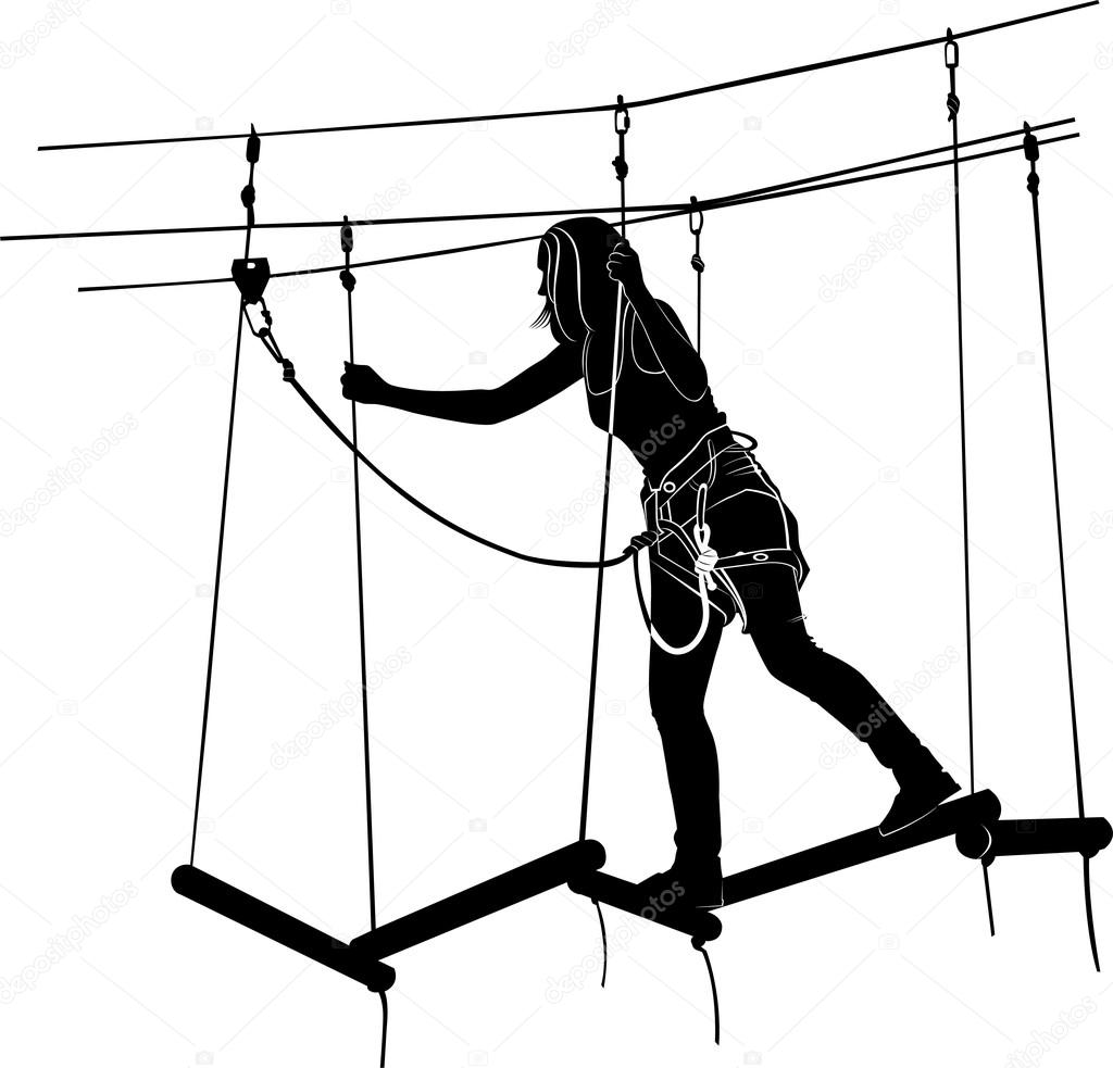 Woman In Adventure Park Rope Ladder