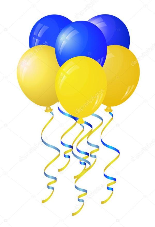 glansigt gul och bl ballonger