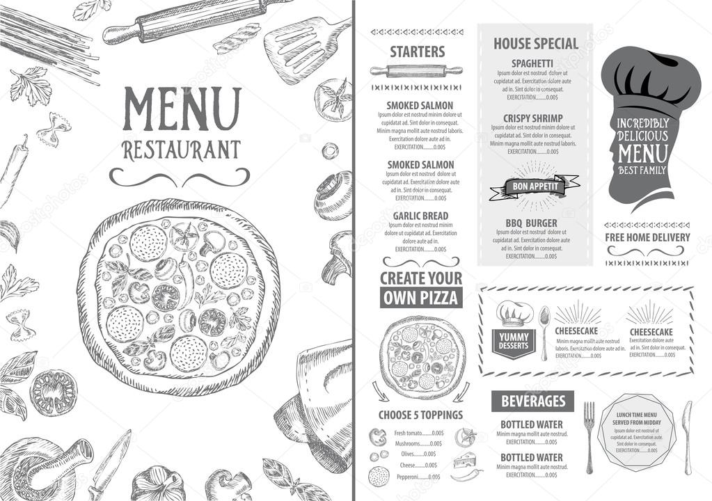 Italian restaurant menu template design — Stock Vector
