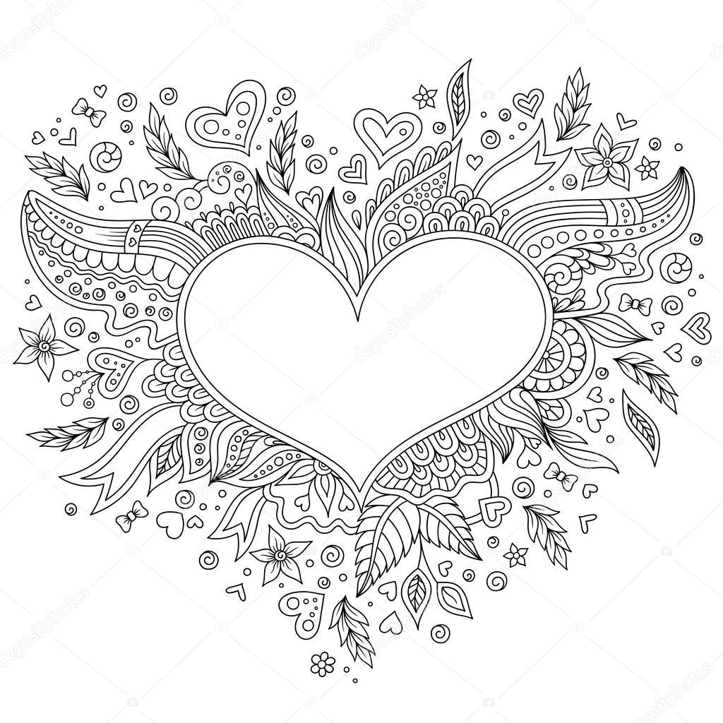 Färbung Seite Blume Herz St-Valentinstag-Grußkarte