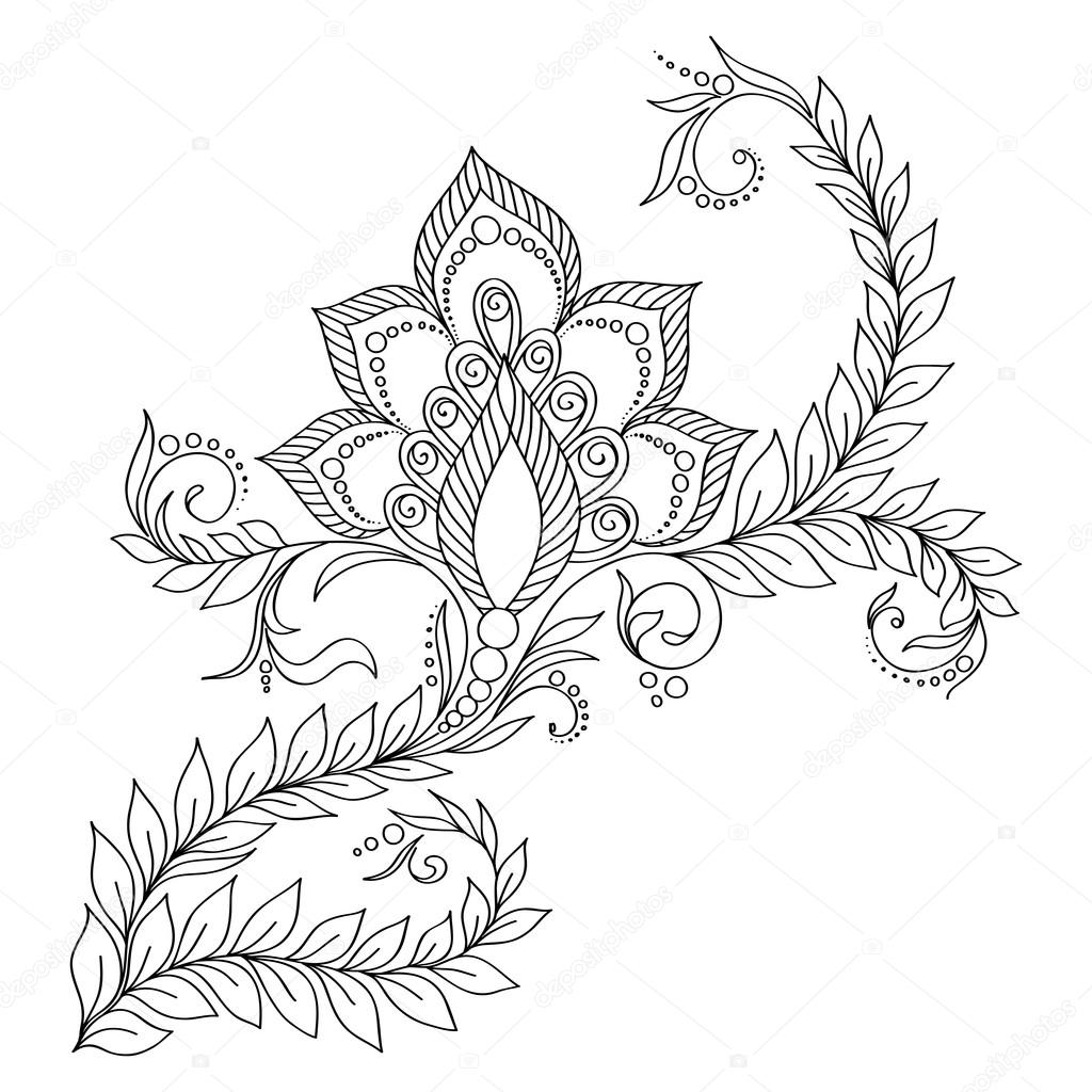 Pattern for coloring book. Floral elements in indian style