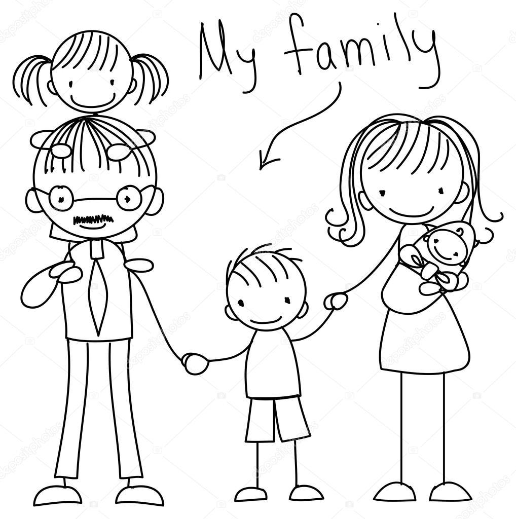 Print happy family — Stock Vector © virinaflora #73927999