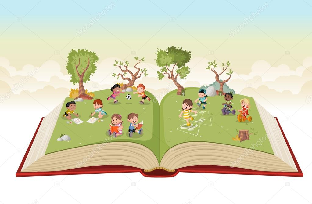Cute Toddlers Playing Cartoon Wallpaper Open Book With Cute Cartoon Kids Playing On Green Park