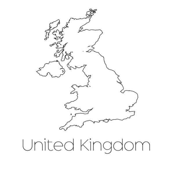 mappa cartina muta Regno Unito con ombra — Foto Stock