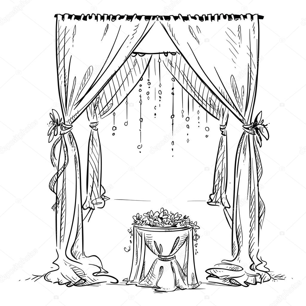 Wedding Arch Wedding Altar Decoration Vector Sketch