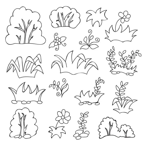 Grass and flowers cartoon coloring book for kids — Stock