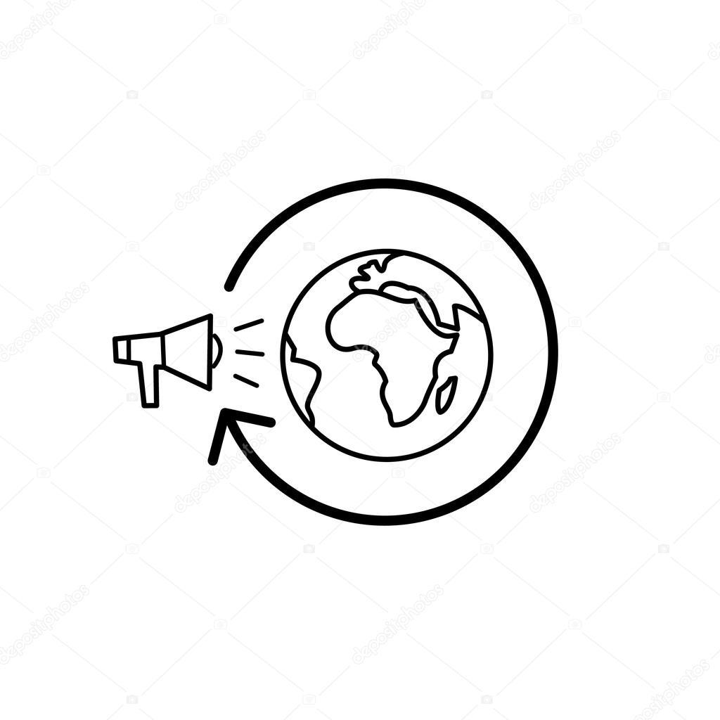 icono de estrategia de campaña de marketing mundial