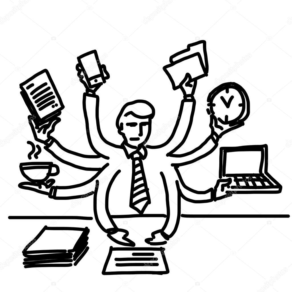 Multitasking e uomo d'affari worcaholism — Vettoriali