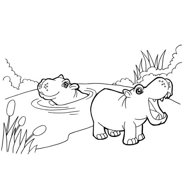 Kontur kreskówka hipopotam — Grafika wektorowa © Kopirin