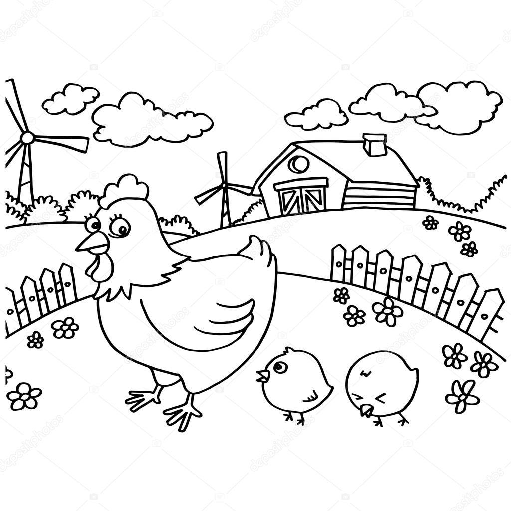 Tavuk boyama sayfaları vektör — Stok Vektör © attaphongw