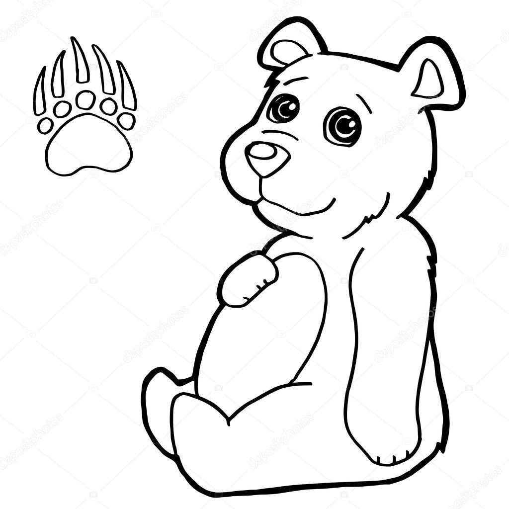 bear with paw print Coloring Pages vector — Stock Vector