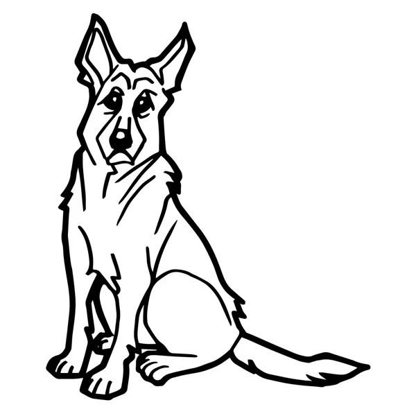 hond emoticons cartoon kleurplaat — Stockvector