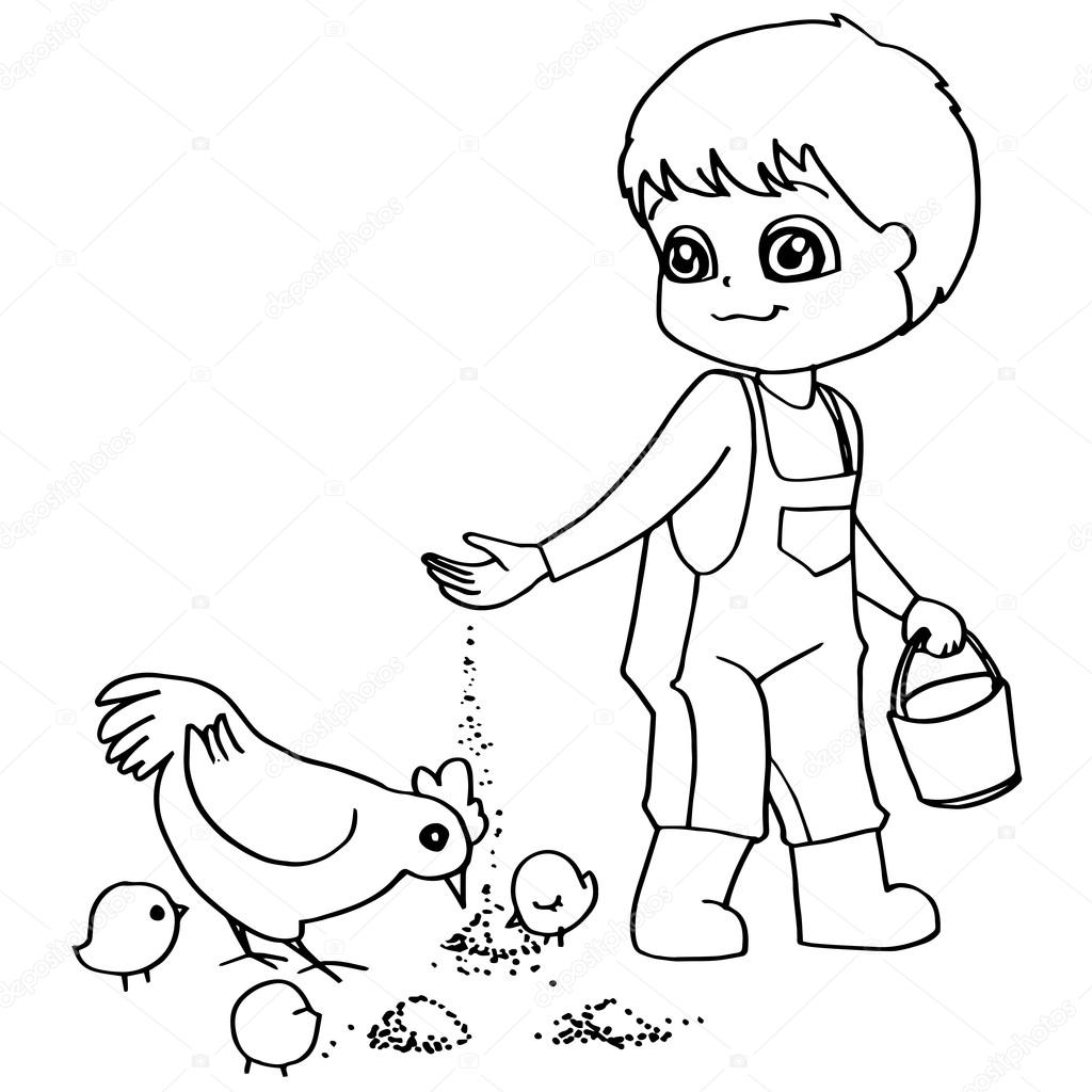 Coloring book child feeding chickens vector — Stock Vector