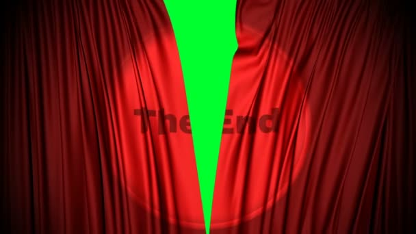 red curtains close with