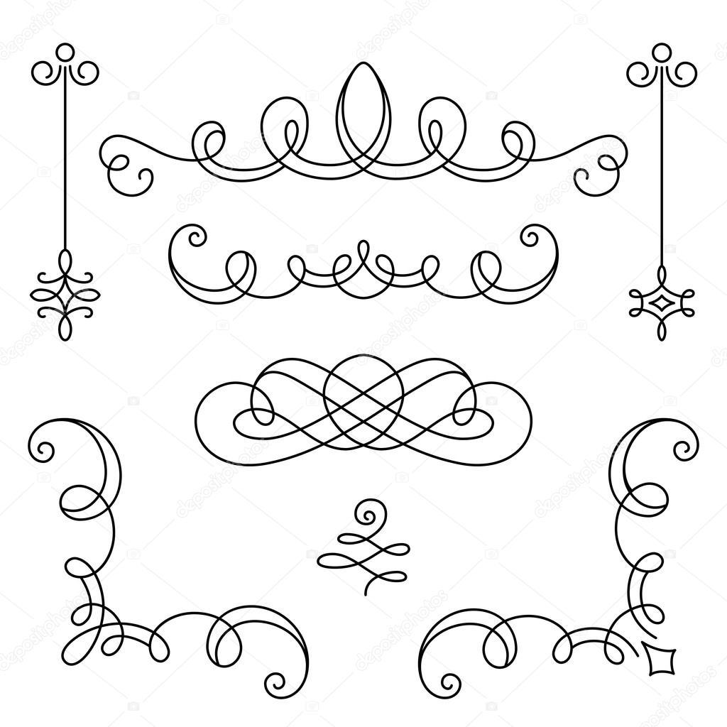 Set Di Angoli E Vignette Calligrafici Dell Annata