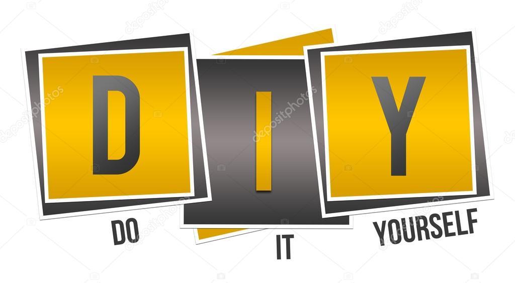 DIY  Do It Yourself Yellow Black Squares  Stock Photo