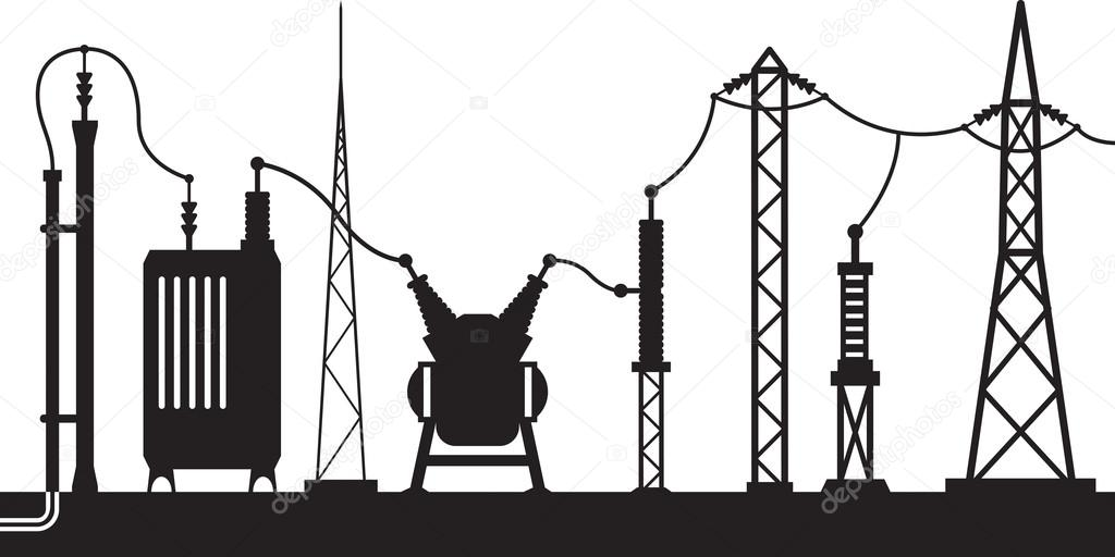Electrical substation scene — Stock Vector #90688342