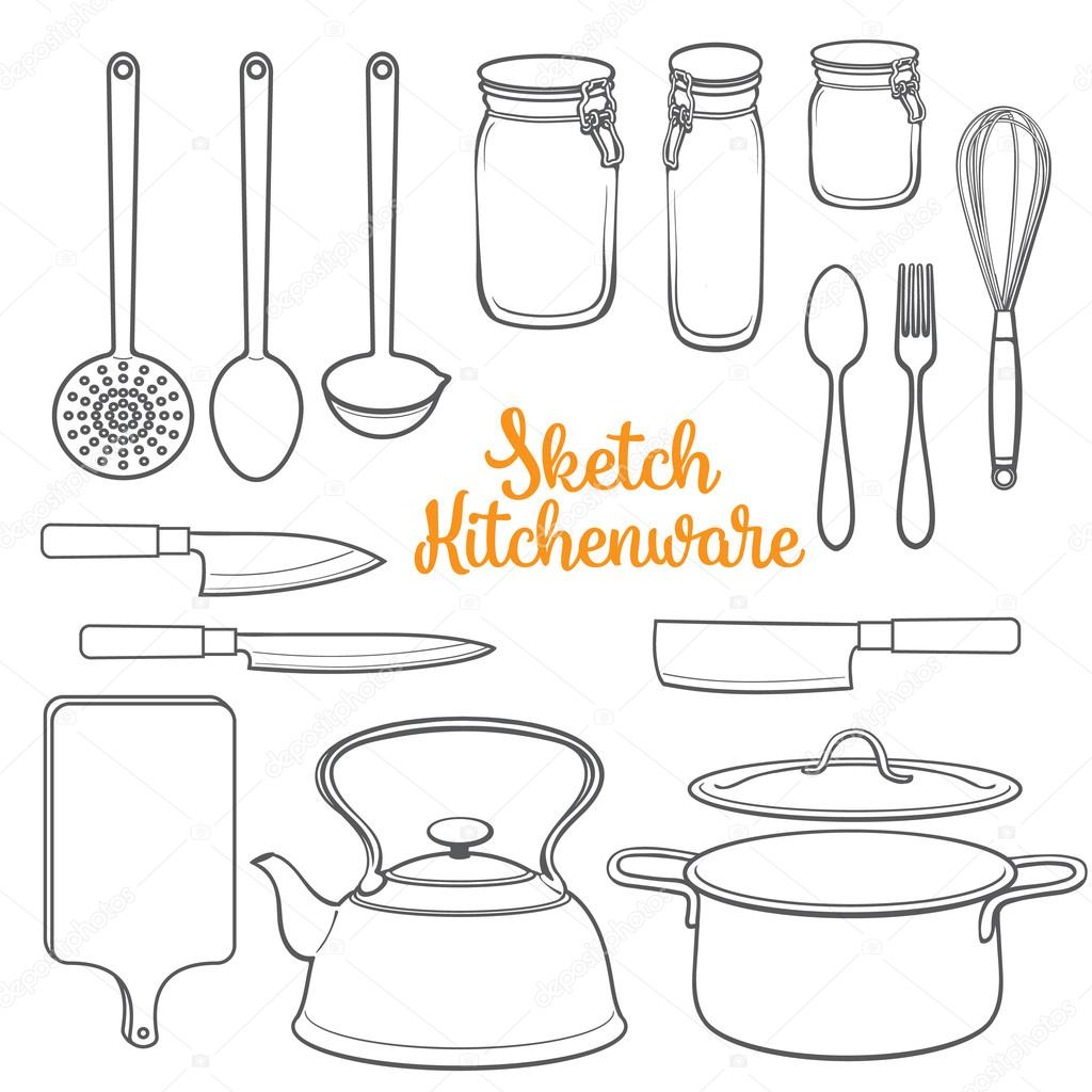 bronze kitchen appliances gas stoves 一套孤立的厨具和餐具素描风格矢量图 图库矢量图像 c sabelskaya 116421770 图库插图
