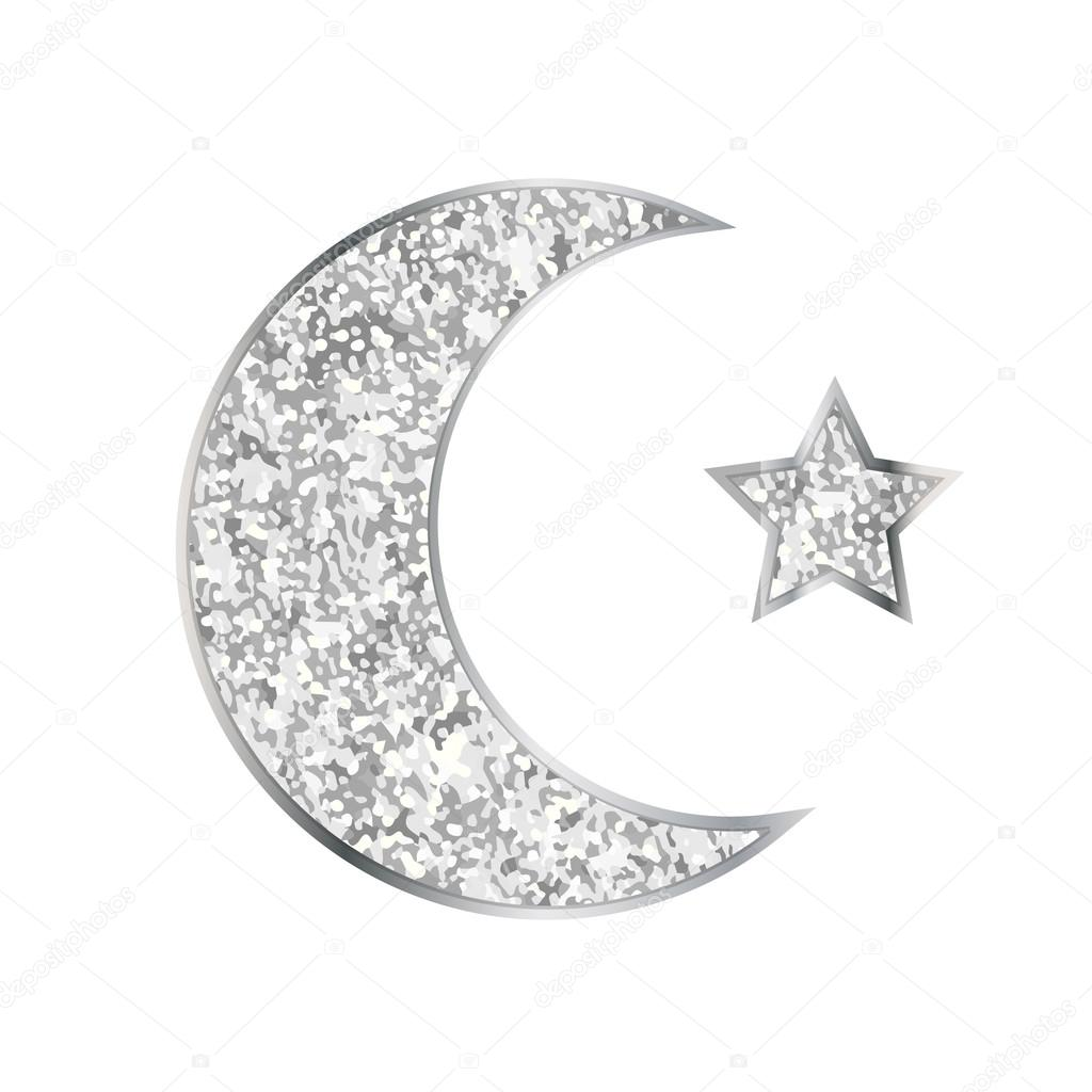 Silver Glitter Moon And Star