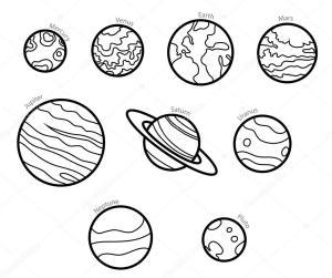 planets planet solar system line illustration vector drawing mars space drawings mercury sketch tattoo illustrations easy clip tattoos cartoon depositphotos