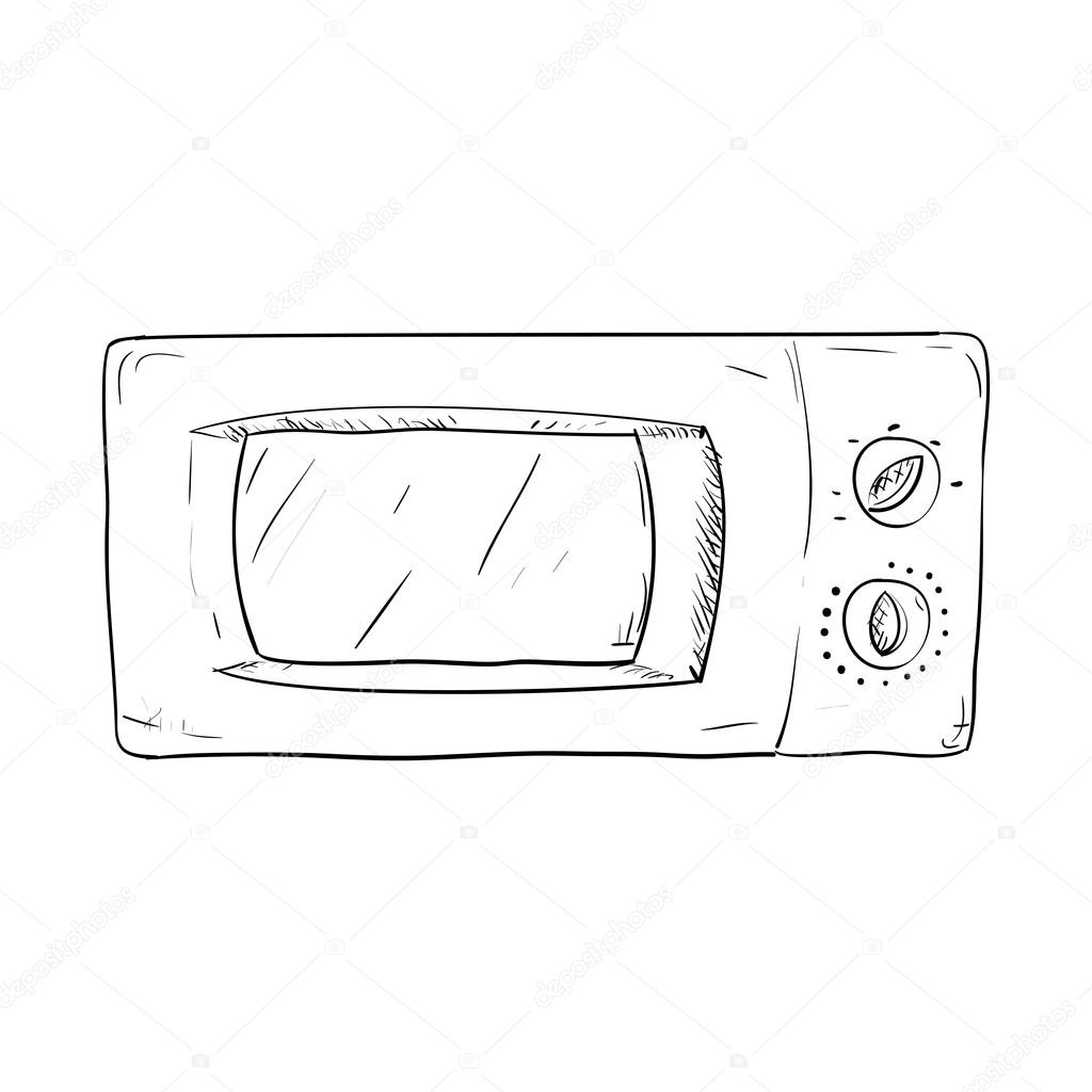 Sketch of microwave oven — Stock Vector © BeatWalk #66318109