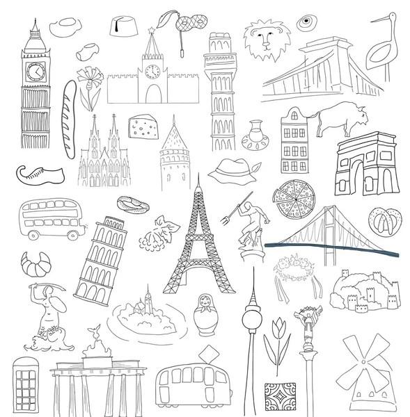 Vector symbolen van veel Europese landen — Stockvector
