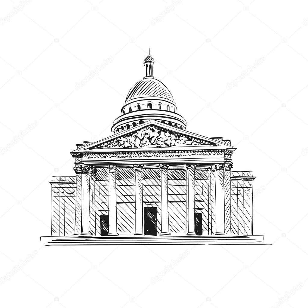 Pantheon In Paris France Vector Illustration