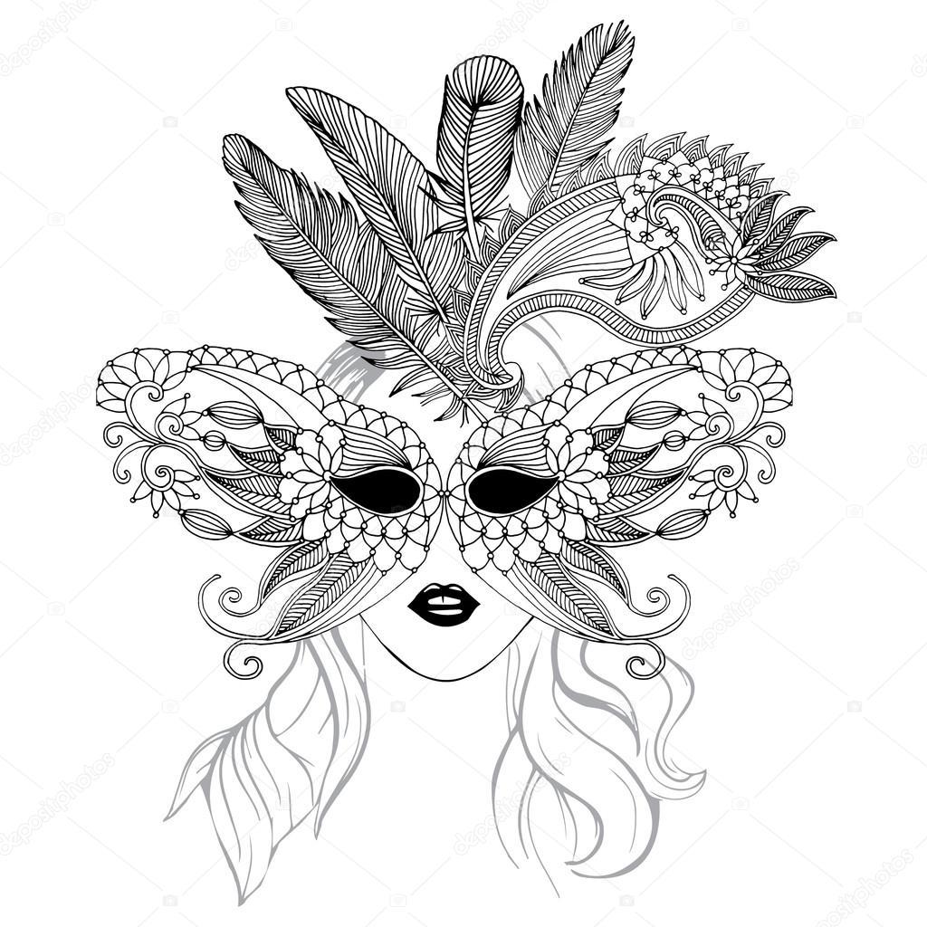 Masker Illustratie Met Veren