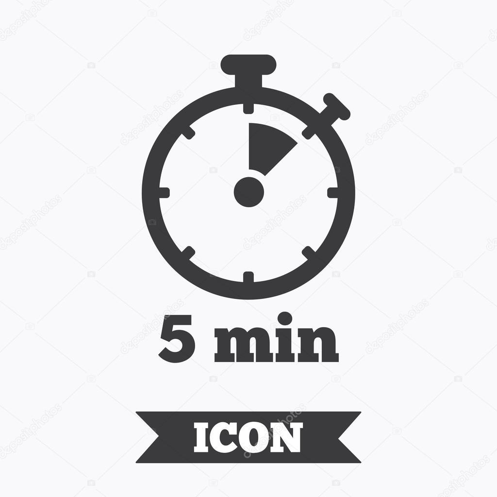타이머 표시 아이콘입니다. 5 분 초시계 기호 — 스톡 벡터 © Blankstock #118006456