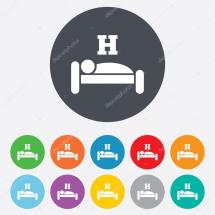 Hotel Sign Icon. Rest Place. Sleeper Symbol. Stock