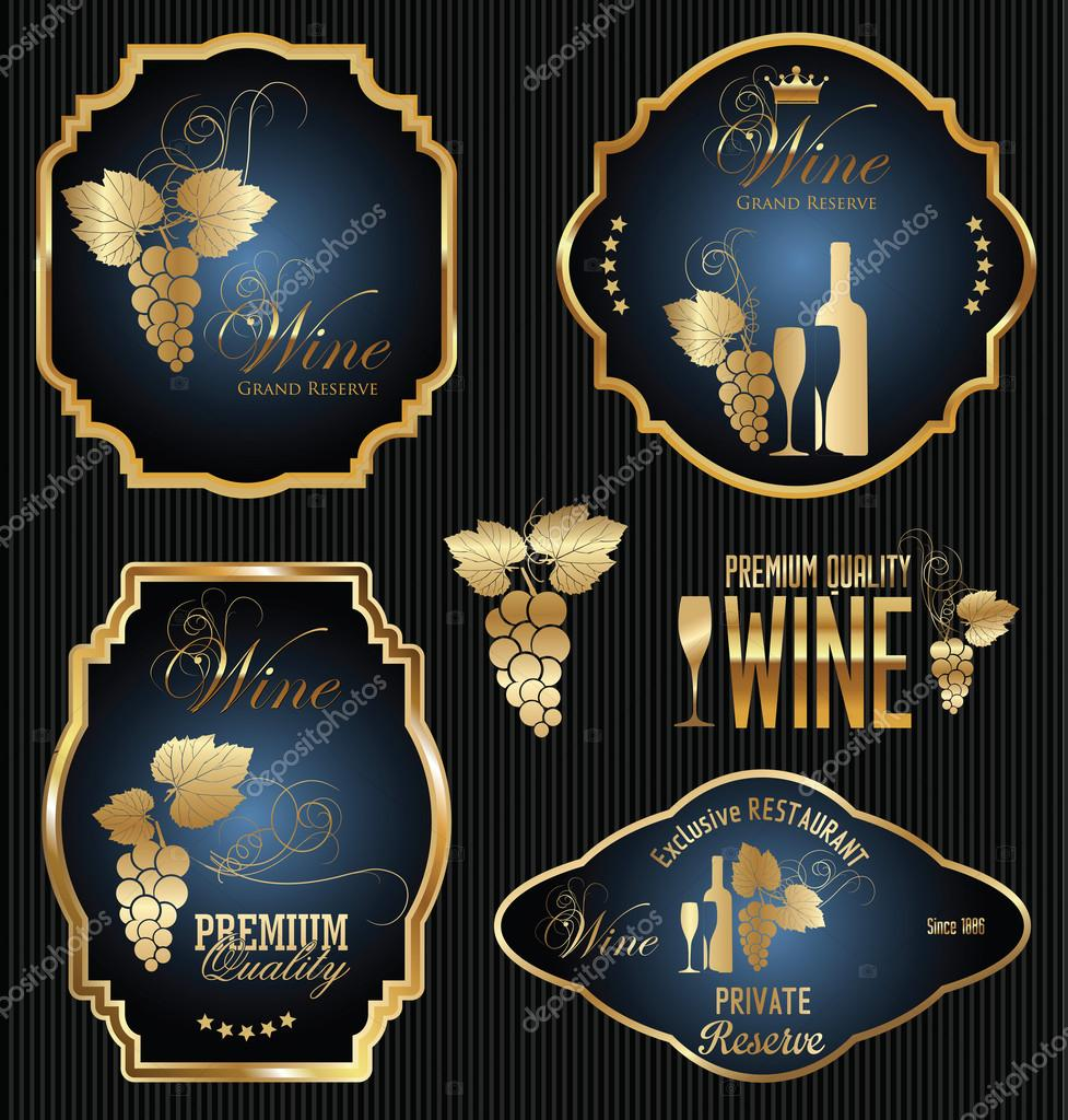 wine labels collection stock