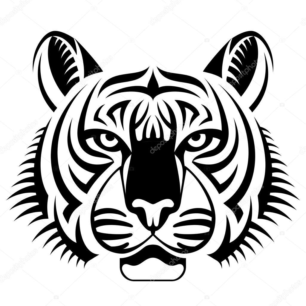 Realistiska Tiger Ansikte Ser Fram T