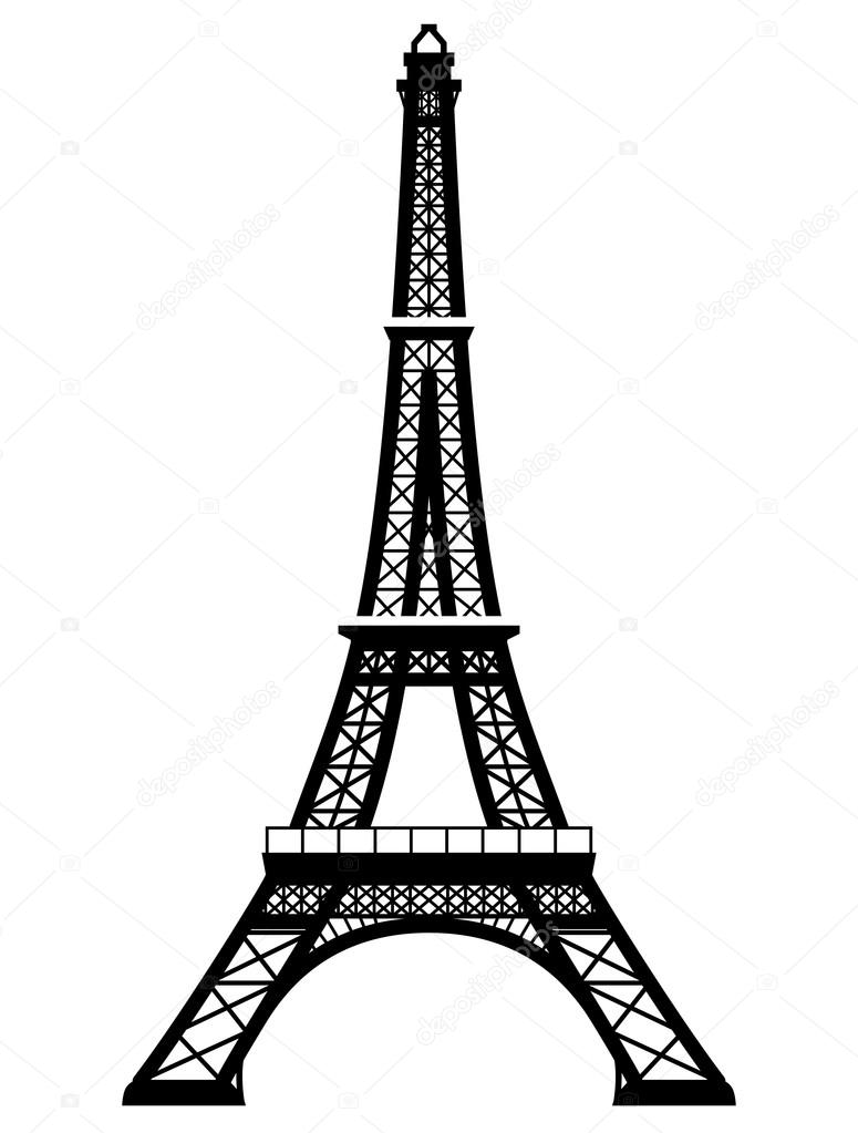 Torre de Eiffel de francés en color blanco y negro