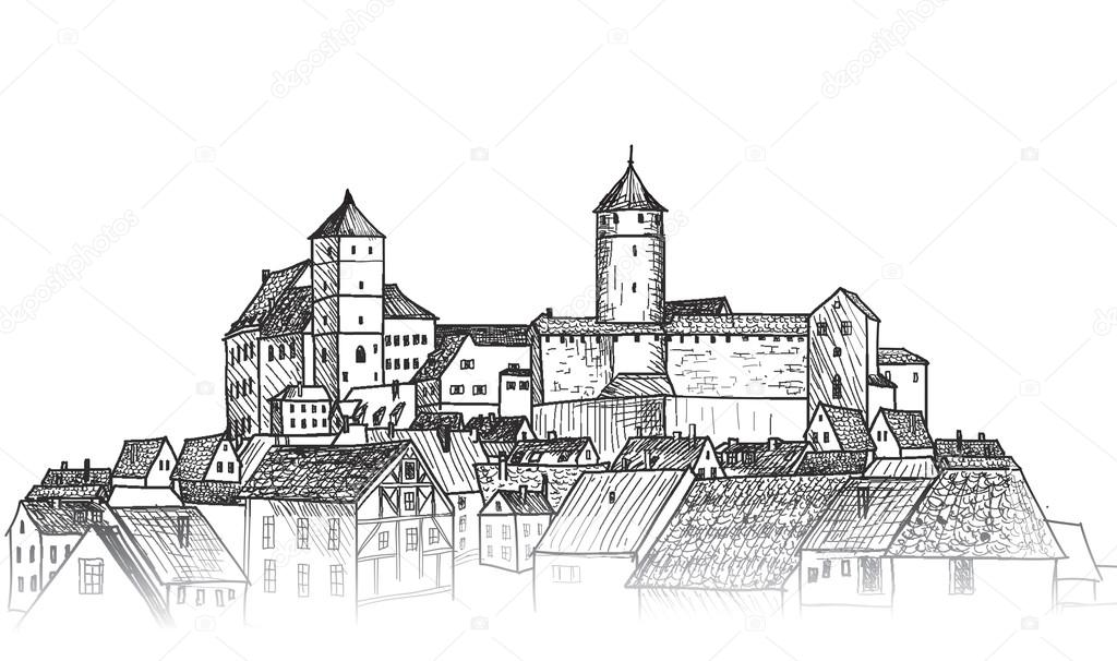 Old medieval city downtown view — Stock Vector