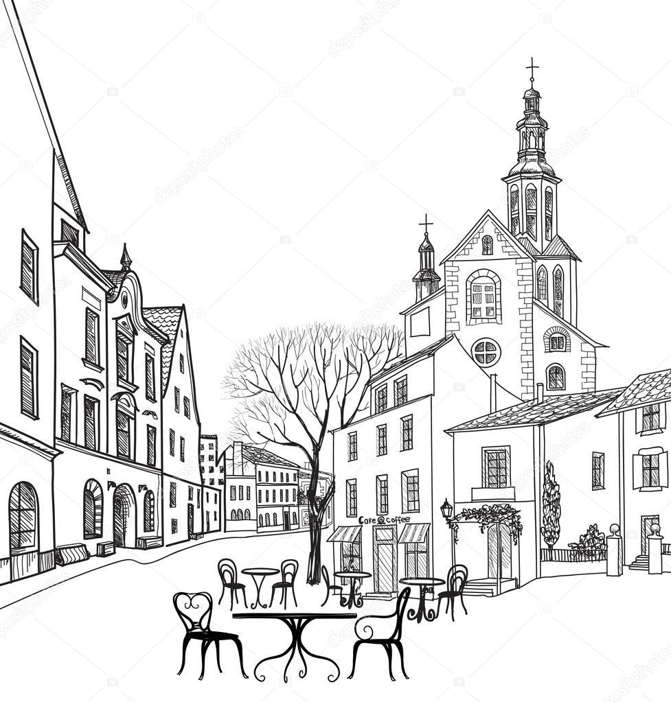 Street cafe in old city. — Stock Vector © YokoDesign #88813326