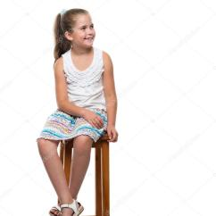 Little Girl Chairs Samsonite Patio Chair Replacement Parts Sitting On The Stock Photo C Raysay 82524452