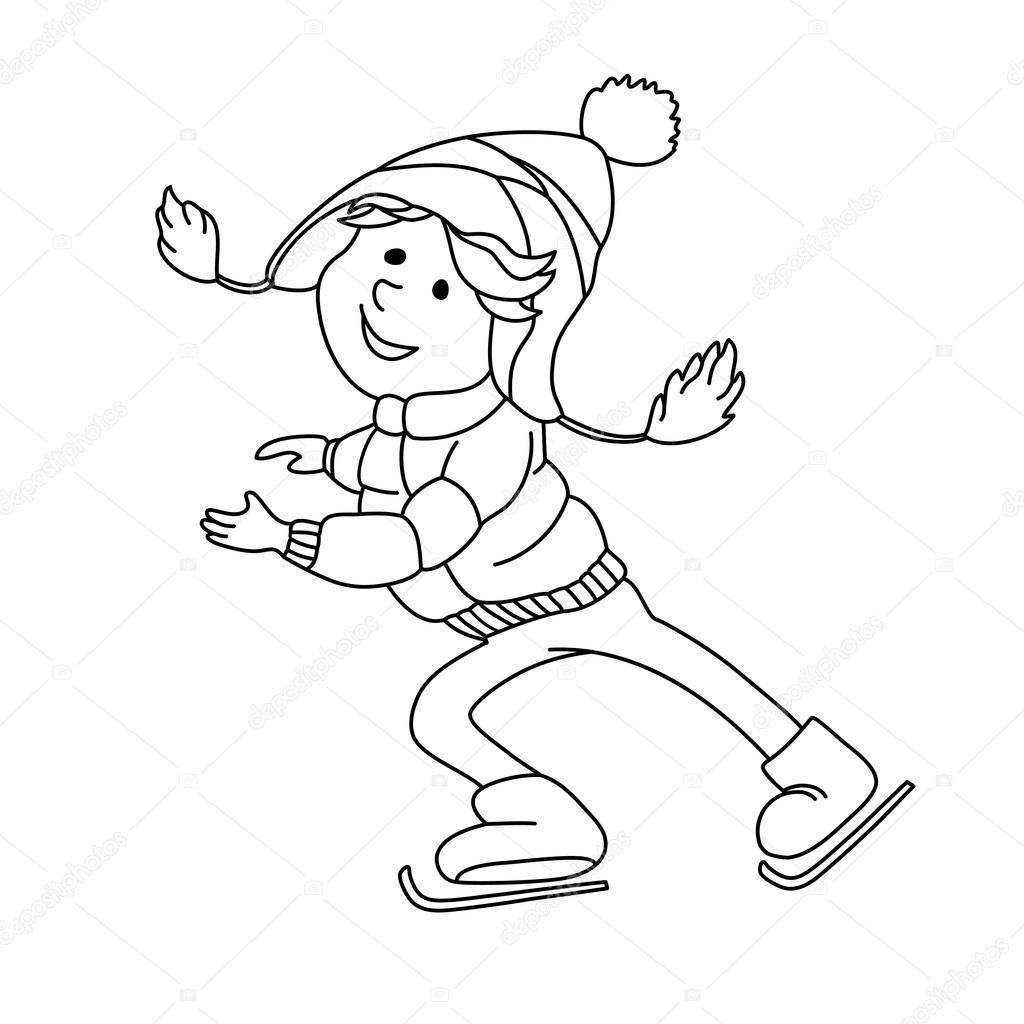 Boy skating on ice. — Stock Vector © Skrolan_Kabi #88551540