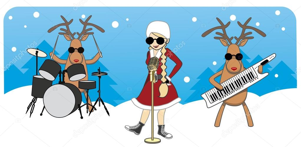 Cartoon Christmas Card Maiden Sings Reindeer Play