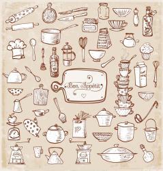 Dibujos de utensilios de cocina Archivo Imágenes